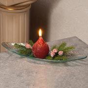 Tischgesteck Glasschale, Schiffchen mit Kerze