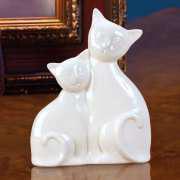 """Tierskulptur """"Katzenpaar"""", weiße Porzellanfigur"""