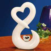 """Porzellanfigur """"Herz"""", Dekoskulptur aus weißem Porzellan"""