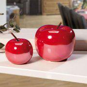 Deko-Keramikäpfel, 2er-Set Deko-Obst zur Tischdekoration
