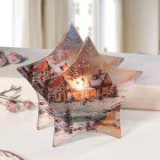 "Sternförmiger Teelichthalter ""Winterhaus am Bach"""