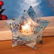 """Teelichthalter """"Wintermärchen"""", sternförmiges Windlicht"""