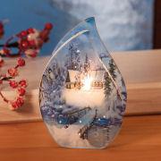 """Teelichthalter """"Flamme"""", Windlicht aus Glas in Flammenform"""