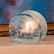 """Teelichthalter """"Winterlandschaft"""", Windlicht aus Glas"""