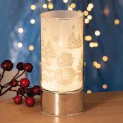 """Tischlampe """"Winterzeit"""", Windlicht mit Motiv und LED"""