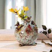 """Kugelvase """"Vögel"""", moderne, farbig glasierte Keramikvase"""