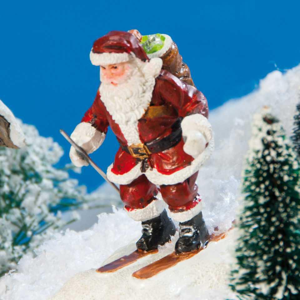 """Lichthäuser Miniaturfigur """"Weihnachtsmann auf Skiern"""""""