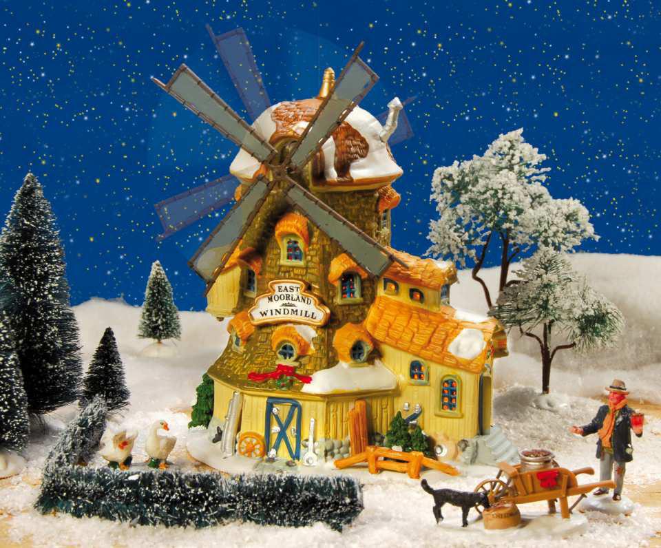 keramik lichthaus windm hle east moorland windmill mit bewegung. Black Bedroom Furniture Sets. Home Design Ideas