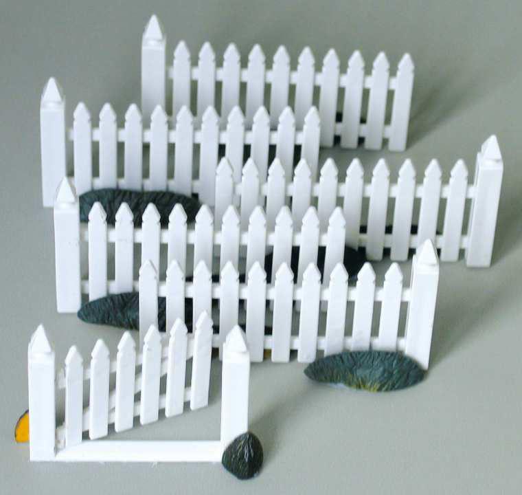 Miniaturfigur zubehör zaun mit tor, 7 teilig, weiß