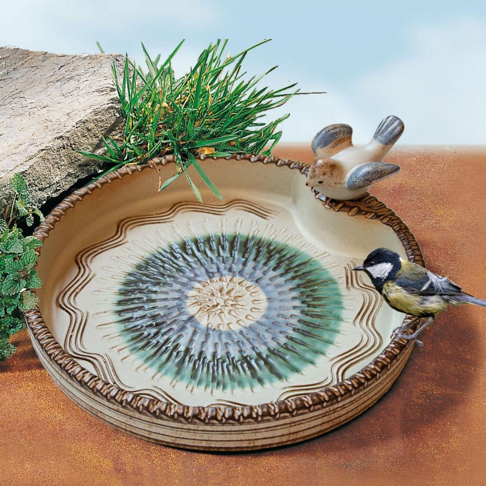 Große Vogeltränke aus Keramik mit Vögelchen