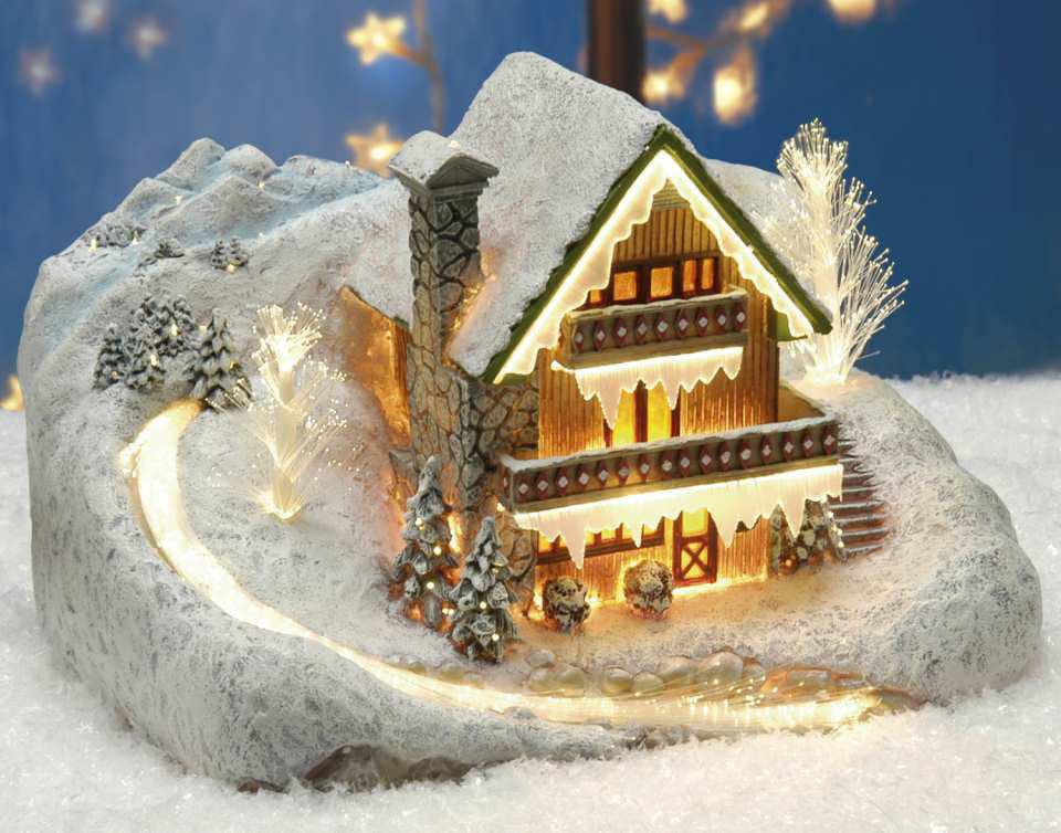 keramik lichthaus schneebedecktes berghaus am bach mit. Black Bedroom Furniture Sets. Home Design Ideas