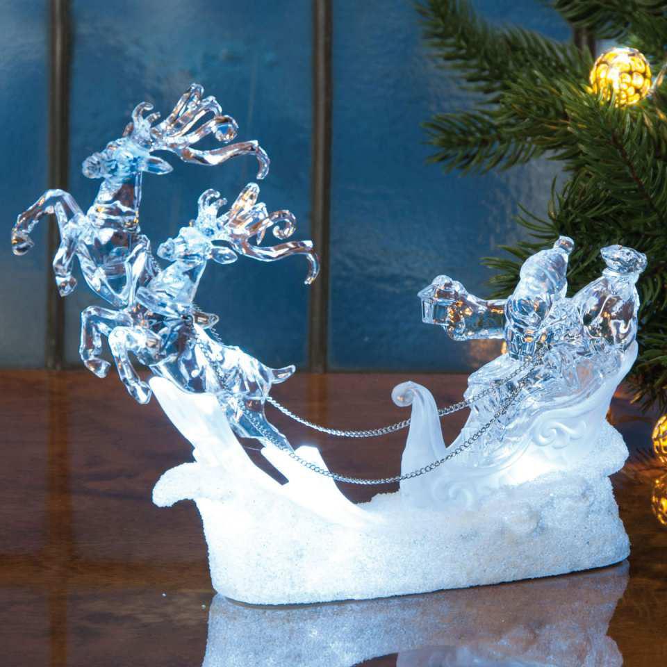 weihnachtsbeleuchtung rentierschlitten acryl lichtdeko. Black Bedroom Furniture Sets. Home Design Ideas