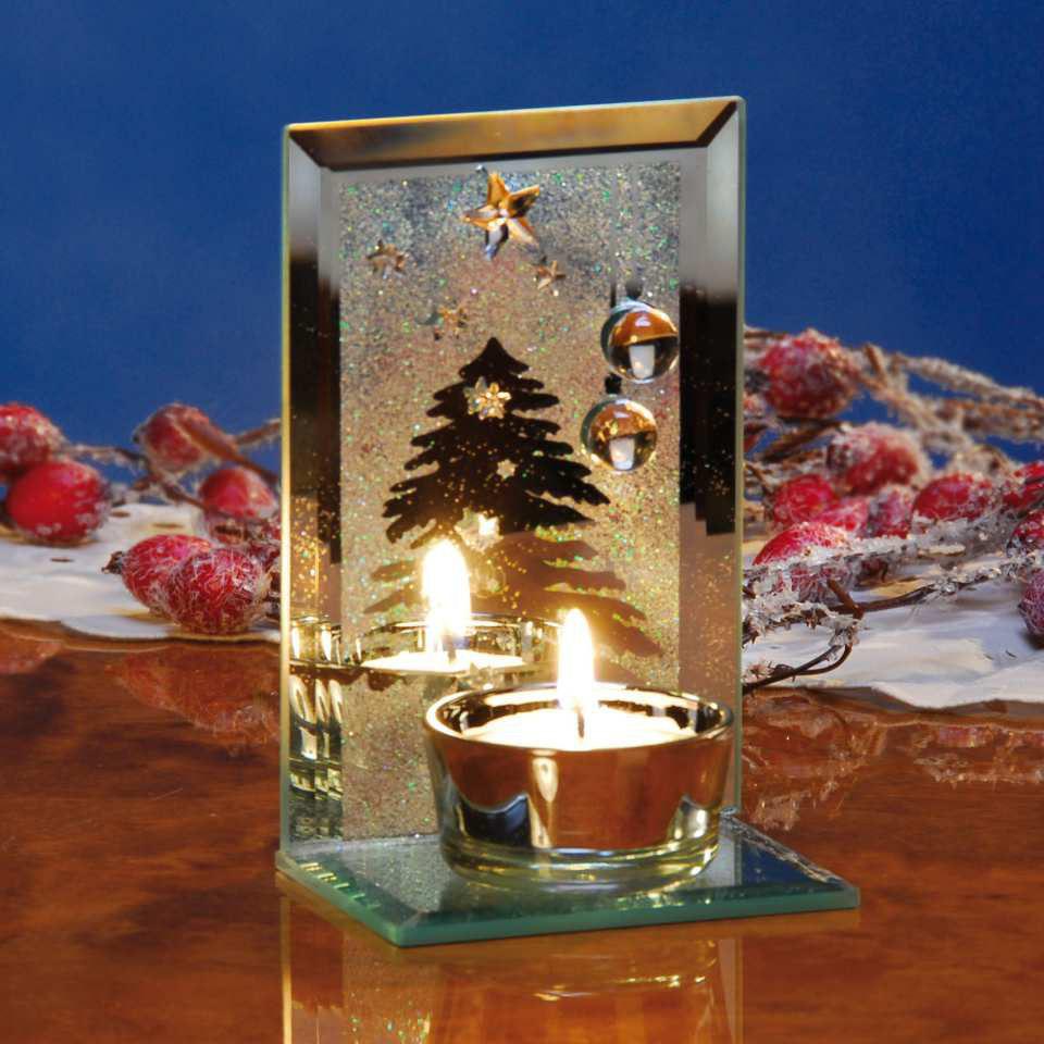 glas teelichthalter weihnachten geschliffenes glas mit teelicht. Black Bedroom Furniture Sets. Home Design Ideas