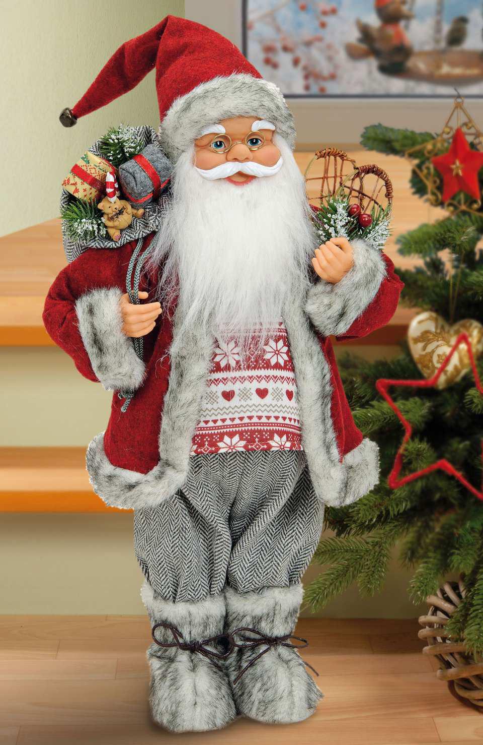 """Weihnachtsfigur """"Weihnachtsmann"""", Dekofigur aus Stoff"""