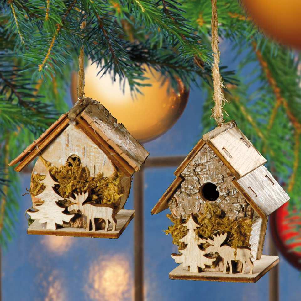Winter deko weihnachtsbaumschmuck vogelhaus 2er set