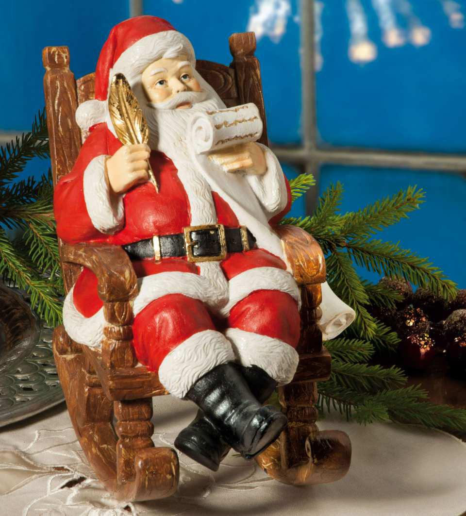 """Weihnachtsfigur """"Weihnachtsmann im Schaukelstuhl"""""""