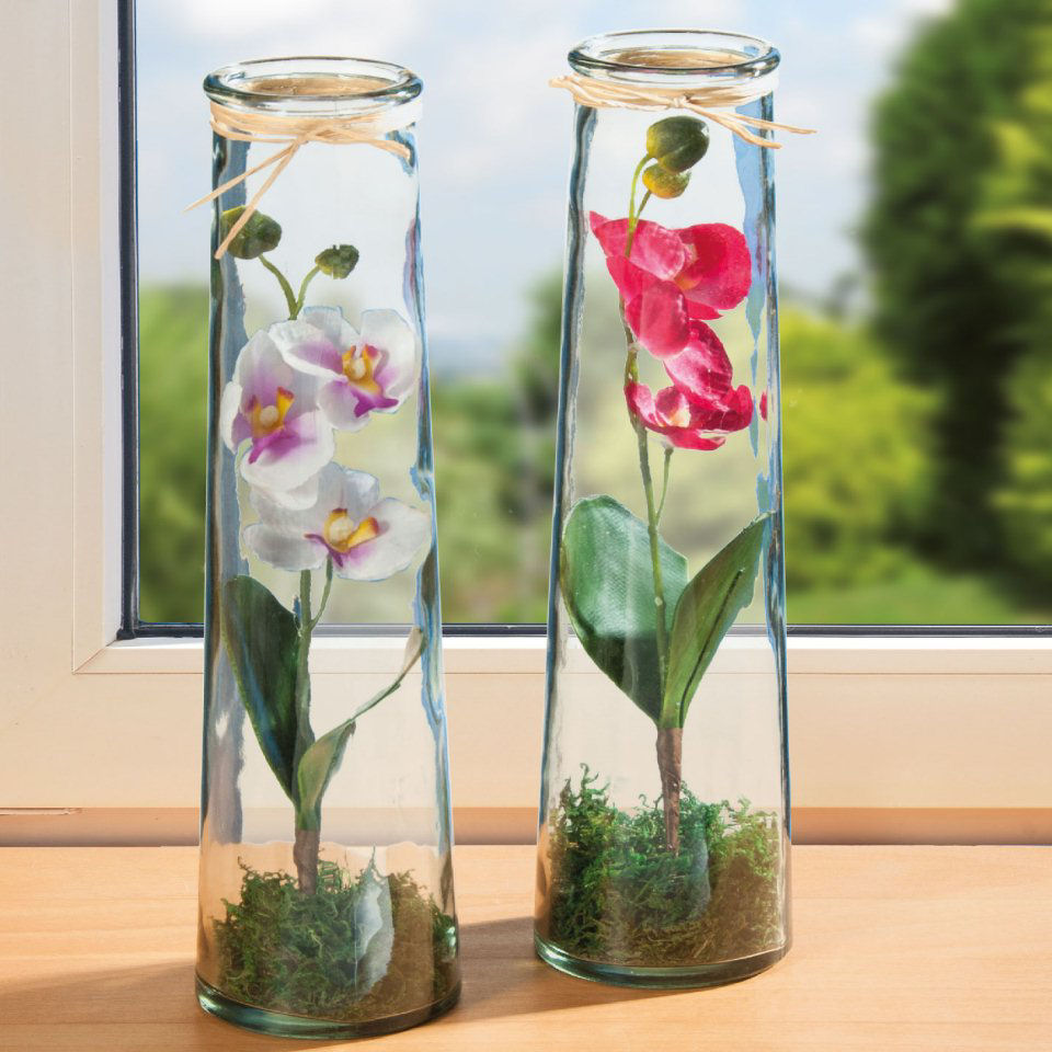 glasvasen 2er set dekovase mit k nstlichen orchideen. Black Bedroom Furniture Sets. Home Design Ideas